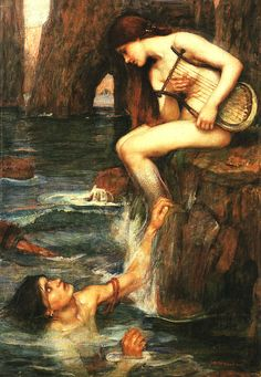 "John William Waterhouse - The Siren     Skye Alexander in the book Mermaids: The Myths, Legends, and Lore explains that mermaids were a representation of men's sexual desires back in the Victorian period. A mermaids tail was a representation of the ""ultimate chastity belt"" and in this image the mermaid was show as having scales from her knees down leaving her ""pertinent parts exposed."""