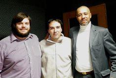 Con dos estupendos colegas y escritores. Alexander Copperwhite y David J. Skinner