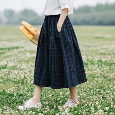Retro plaid pocket Elastic waist pocket loose A-Line skirt mori girlliilgal