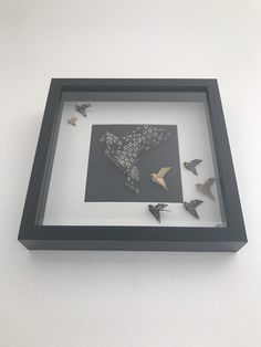 Box Frame Art, Box Frames, Origami Bird, Kirigami, Shadow Box, Baby Shower Gifts, Framed Art, Picture Frames, Paper Crafts