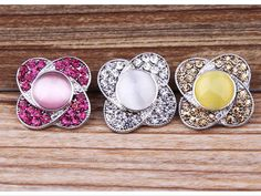 Snap Charms Cat Eyes & Rhinestones 3 Colors!