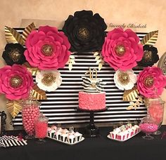 9 Piece Kate Spade Inspired Paper Flowers by SincerelyElizabethh Kate Spade Party, Kate Spade Bridal, Kate Spade Cake, Bridal Decorations, Birthday Party Decorations, Graduation Decorations, Bridal Shower, Baby Shower, Paper Flowers Wedding