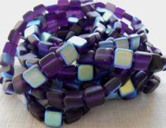 Lot of 25 Czech glass matte translucent purple, tanzinite AB 6mm, one hole, flat square beads, 5725