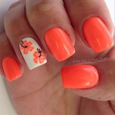 neon coral floral nail design: