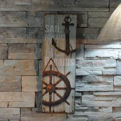Wooden Coffee Shop House Bar Home Decorative Board Plates Cafe Wall Art Decor Helm Anchor | Absolutely beautiful piece of art! Perfect for any beach/sea/ocean theme! Xo