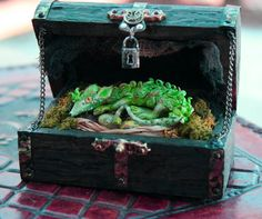 Miniature Wizard Leafy Dragon with Dragon Eggs Steampunk Floor Chest. via Etsy.