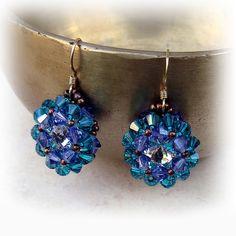 U-Boutique Shops   Green and purple swarovski crystals earrings,Handmade earring,Beadwork earring,Woman earrings,Statement earring,Unique earring   tami peretz