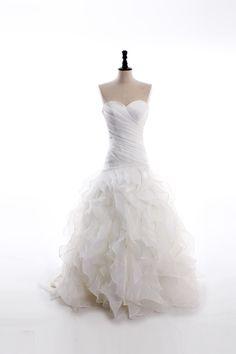sweetheart+neckline+satin+organza+floor-length+ruffled+bottom+wedding+dress $566.00