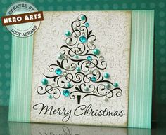 Hero Arts Cardmaking Idea: Fanciful Christmas Tree #cardmaking #christmas #holidaycard