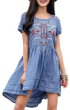 Specifications: Gender:Women Waistline:Natural Decoration:Embroidery Sleeve Style:Regular Pattern Type:Geometric Style:Casual Material:Cotton,Polyester Season:Summer Dresses Length:Above Knee, Mini Ne