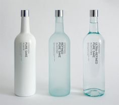 Otokoyama Sake bottles by Jamie Conkleton. Love how the purity level of the Sake is shown by the opaqueness of the bottle. Smart!
