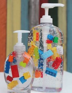LEGO Liquid Hand Soap    Picture is worth 1,000 words. This listing is for ONE bottle.    Made with genuine LEGO® pieces. LEGO®, the LEGO logo,