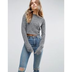 ASOS Top With Super Long Sleeves On Textured Rib (€22) ❤ liked on Polyvore featuring tops, ribbed crop top, ribbed top, long sleeve crop top, long sleeve tops and cut-out crop tops