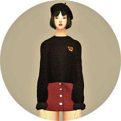 SIMS4 marigold: Batwing Sleeve Sweater_가오리 소매 스웨터_여자 의상
