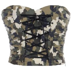 Anna-Kaci S/M Fit Green Army Camouflage Print Corset Lace Up... ($22) ❤ liked on Polyvore featuring tops, shirts, corsets, crop tops, olive green crop top, olive crop top, lace up corset, lace-up tops and corset crop top