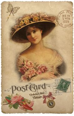 Violeta lilás Vintage: Post Card Damas Antigas - Vitorianas
