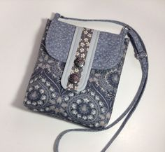 Gray Sling Cross body iPad Purse Natural Pewter Dark Grey