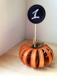 Mason Ball Jar Canning Lid Pumpkin,reception,Table number, chalkboard, centerpiece, party, Fall, Thanksgiving, Halloween, Wedding Decoration on Etsy, $19.00