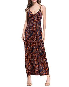 ZANZEA Women's Boho Spaghetti Strap V Neck Printed Sexy Long Maxi Dress Beach OrangeRed US 2-4/ASIAN M. Please Refer To The Size Details Before You Purchase.( 2cm/1 inch Inaccuracy May Exist Due To Hand Measure.). Comfortable To Wear,Suitable For Beach,Club,Or Just Daily Wear. Sexy And Charming Style,Absolutely Gorgeous Stylish. Product Description: V Neck, Sleeveless, Spaghetti Strap, Floral, Ankle-length, Long Dress. Package include: 1 Dress.