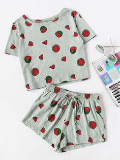 Allover Watermelon Print Tee And Smocked Waist Shorts Set