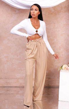 Gray Marl Off the Shoulder Plunge Wide Leg Loungewear Set - Adelaide | Femme Luxe UK 2021 Harem Pants, Khaki Pants, Loungewear Set, Long Sleeve Bodysuit, Wide Leg Trousers, Off The Shoulder, Lounge Wear, That Look, Legs