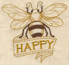 Bee Happy - Embroidered Linen Kitchen Towel with YOUR CHOICE of Colored Border.  via Etsy. Save The Bees, Bee Keeping, Bees Knees, Honey Bees, My Honey, Bee Embroidery, Embroidery Designs, Embroidery Files, Machine Embroidery