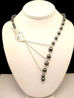 Necklace  Alluring Grey Pearl and Chain with by byBrendaElaine