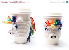 Coffee Cozy Unicorn, Crochet Coffee Sleeve, Can Koozie, Animal Drink Sleeve, Travel Cup Holder from MsAmandaJayne. Saved to May 14 etsy finds. Crochet Coffee Cozy, Coffee Cup Cozy, Crochet Cozy, Love Crochet, Owl Coffee, Ravelry Crochet, Knitting Projects, Crochet Projects, Yarn Projects