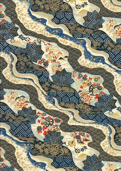 Navy Blue White and Gold Landscape Japanese Yuzen Chiyogami Washi Paper Sheet 23 x 15 cm (9 x 6 inches) mosaicmouse