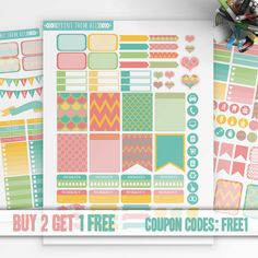 Colorful, Geometric Planner Stickers Printable, Erin Condren Sticker, Monthly/Weekly  Kit, Printable Sampler, Erin Condren, Instant download