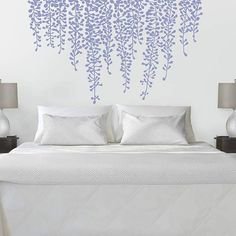 Wall decals brings a completely new fashion of decor inside your bedroom. With this bedroom wall decals and wallpaper for bedroom gallery ideas, you're able to revamp your home. Awesome Bedrooms, Beautiful Bedrooms, Beautiful Wall, Wall Decals For Bedroom, Bedroom Decor, Decals For Walls, Vinyl Wall Decals, Bedroom Ideas, Master Bedroom Design