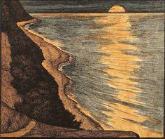 Georg Jahn Colour Woodcut 'Am Meer' 1901.