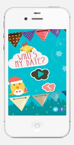 Best  Designed Christmas Games Apps. Cool iOS 7 Flat Design.  Who's My Date? Christmas App.