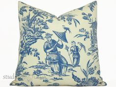 Asian Toile Chinoiserie Pillow Cover 20 by STUDIOTULLIAPILLOWS