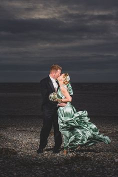 Dreams, Pearls And A Pale Green Gown - rippling #bespoke silk wedding dress