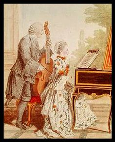 viol by Louis Carrogis (Louis de Carmontelle), Monsieur Piton and Daughter, French, 1760.