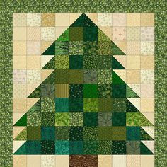 Free Quilt Patterns : Christmas Tree Quilt Pattern: Rag Quilt & Non-Rag Miniature Quilt