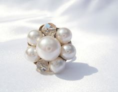 White Pearl Ring Vintage Pearl Ring White Cluster by TheButtonBird