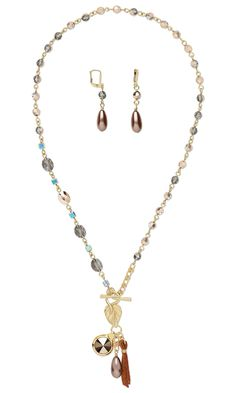 Jewelry Design - Single-Strand Necklace and Earring Set with Swarovski Crystal, Celestial Crystal® Beads and Suede Lace Cord - Fire Mountain Gems and Beads