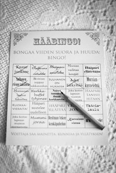 Wedding bingo! I don't know why, but I find this quite funny. Photography by Ville Lehtinen/Antti Silvennoinen