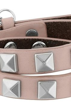 Rebecca Minkoff Double Row Leather Bracelet with Pyramid Studs (Vintage Pink/Rhodium) Bracelet - Rebecca Minkoff, Double Row Leather Bracelet with Pyramid Studs, 059586IR681, Jewelry Bracelet General, Bracelet, Bracelet, Jewelry, Gift - Outfit Ideas And Street Style 2017