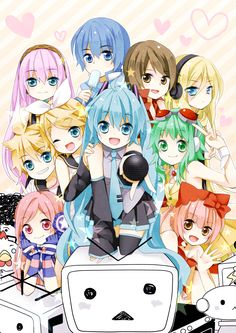 Vocaloid - Megurine Luka, Kaito, Meiko, Lily, Kagamine Len and Rin, Hatsune Miku, Gumi, SF-A2 Miki, Nekomura Iroha
