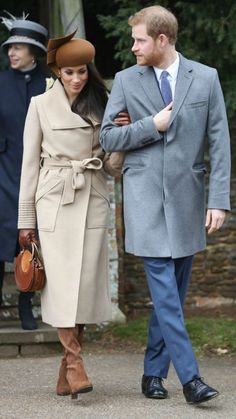 Christmas 2017 with the Queen.  Meghan Markle and Prince Harry