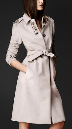 Burberry Prorsum S/S14 Gem-Embellished Bonded Angora Coat