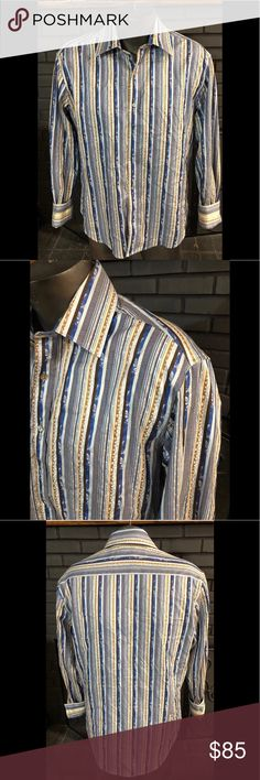 9d9432687 Robert Graham Long Sleeve Shirt Men s L Preowned Robert Graham Long sleeve  shirt blue and brown striped tailored fit men s size Large.