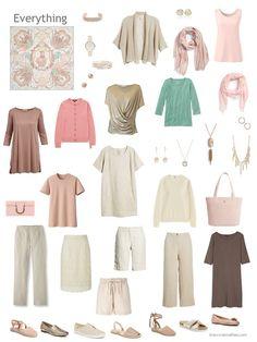 7. capsule wardrobe based on a beige Hermes scarf