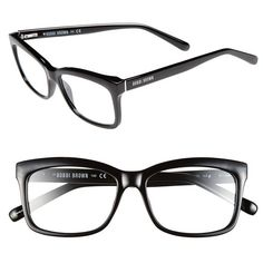 Bobbi Brown 'The Brooklyn' 53mm Reading Glasses ($68) ❤ liked on Polyvore featuring accessories, eyewear, eyeglasses, glasses, sunglasses, jewelry, black, black eyeglasses, black reading glasses and black glasses