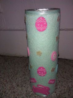 Easter candle made from Pringle can