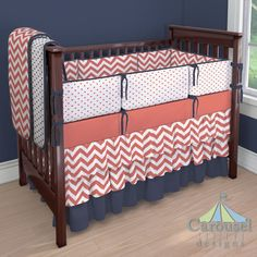 Crib bedding in Coral Zig Zag, Coral Hearts, Solid Navy, Windsor Navy Hearts, Solid Coral. Created using the Nursery Designer® by Carousel Designs where you mix and match from hundreds of fabrics to create your own unique baby bedding. #carouseldesigns