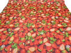 2m Red strawberries fruit Oilcloth picnic mat PVC tablecloth covers FABRIC table